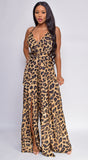 Donna Leopard Print Brown Wide Leg Slit Jumpsuit