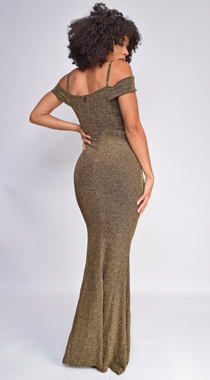 Jazlynn Gold Glitter Jersey Off Shoulder Maxi Dress