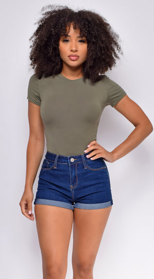 Mylie Olive Green Cap Sleeves Bodysuit
