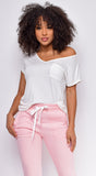 Riley Basic Ivory White V Neck Off Shoulder Top