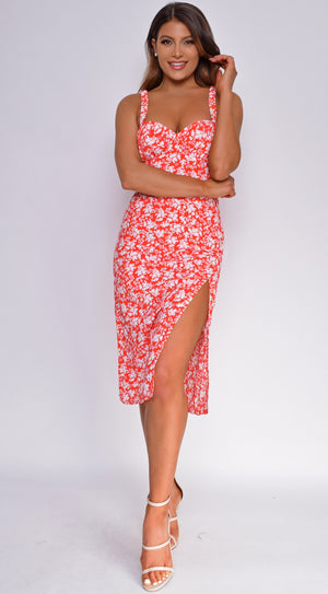 Romelia Red Floral Slit Dress