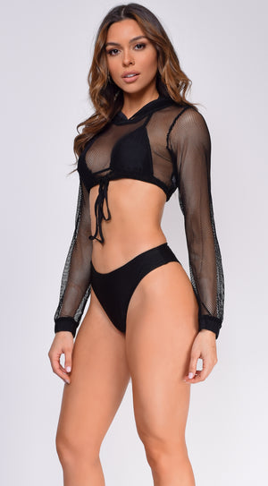 Laguna Black Hoody Fishnet Bikini Three Piece Set
