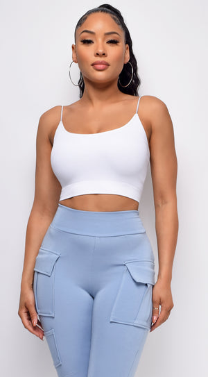 Jaye White Seamless Spaghetti Strap Ribbed Bottom Brami