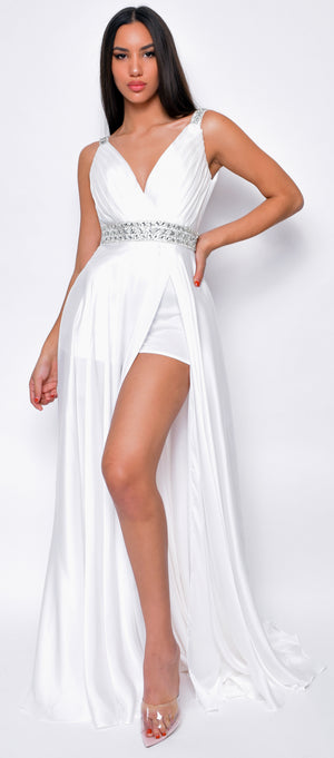 Janiyah Off White Satin White Gown