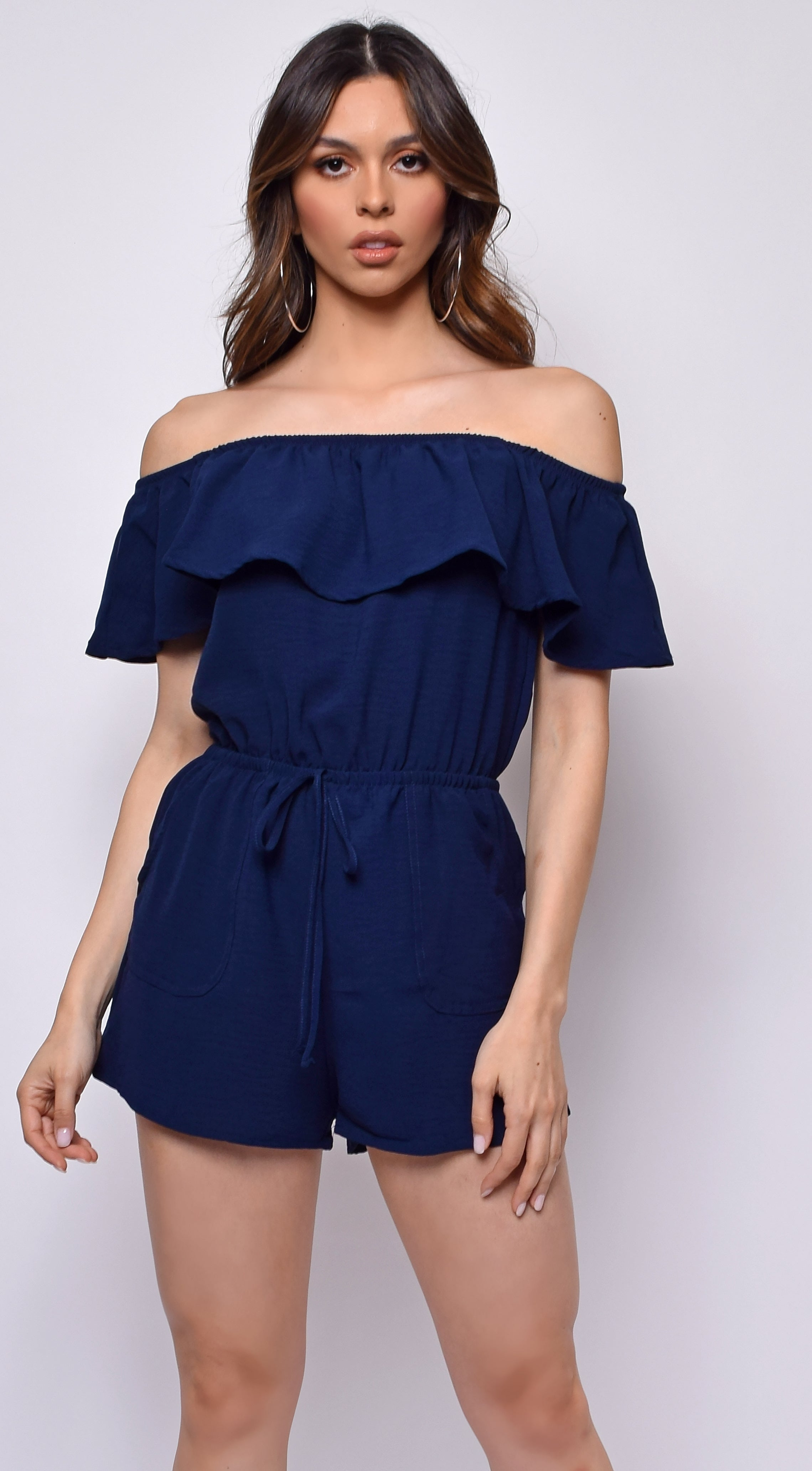 Alessia Navy Blue Off Shoulder Romper