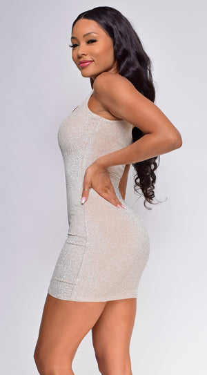 Carlita Champagne Sparkle Square Neck Dress