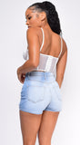 Elva White Mesh Ruched Cage Corset Top