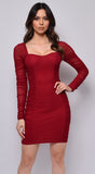 Adalee Burgundy Red Ruched Mesh Long Sleeve Mesh Dress