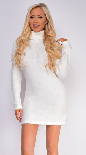 Nora Off White High Neck Sweater Dress