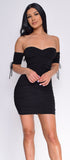 Amal Black Ruched Off Shoulder Mini Dress - Emprada
