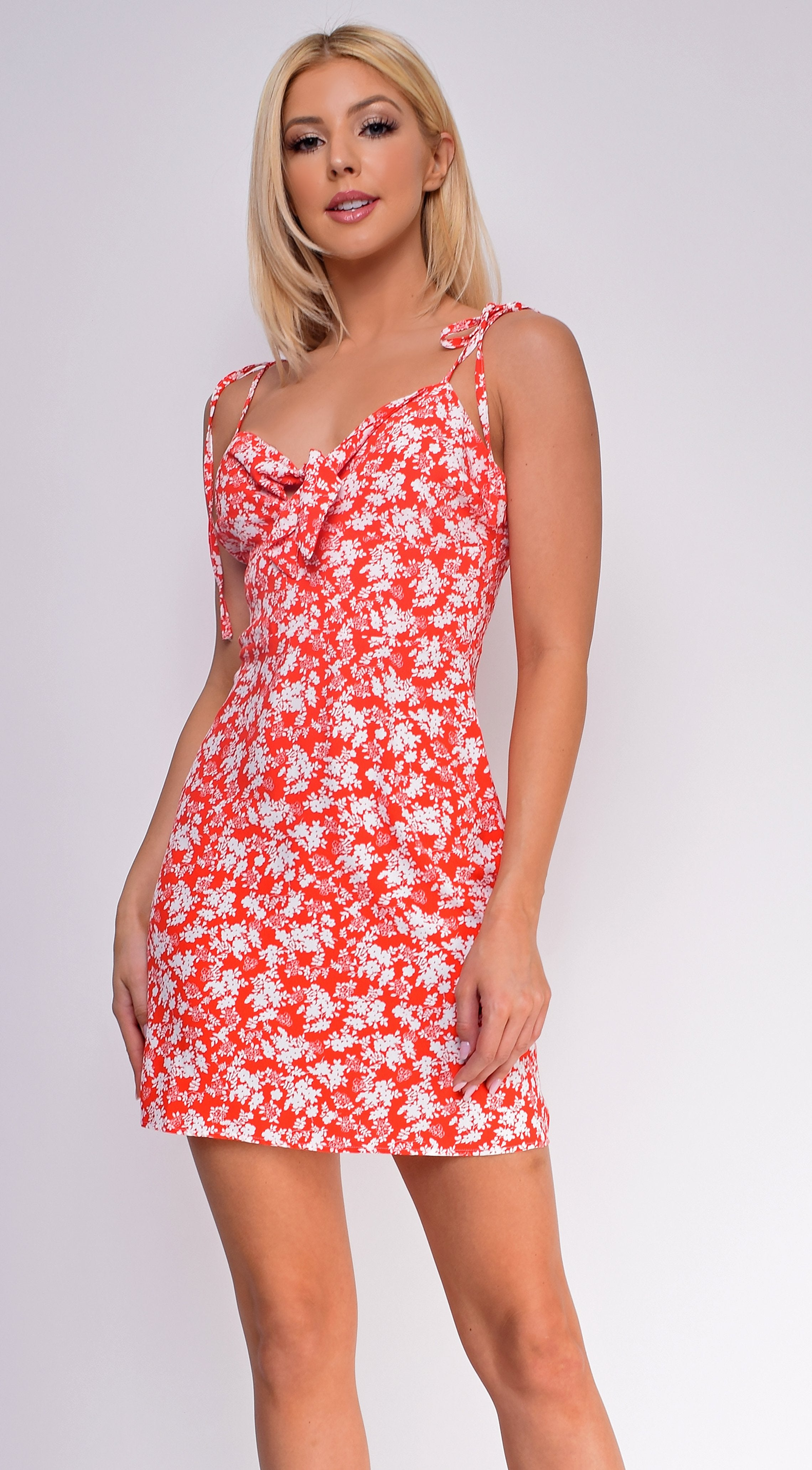 Marigold Red White Floral Dress