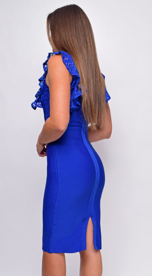 Fiorel Blue Lace Mock Neck Bandage Midi Dress