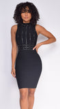 Kalisa Black Mock Neck Studded Bandage Dress