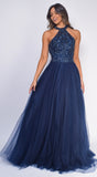 Raeni Navy Blue Beaded Tulle Gown