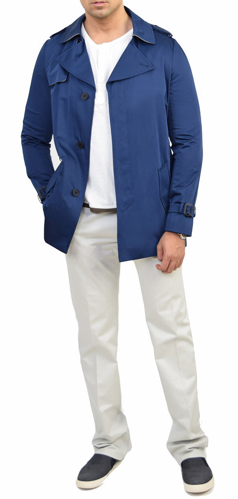 Derek Navy Cotton-Blend Trench Coat - Emprada