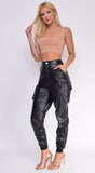 Risk It All Black Faux Leather Cargo Joggers