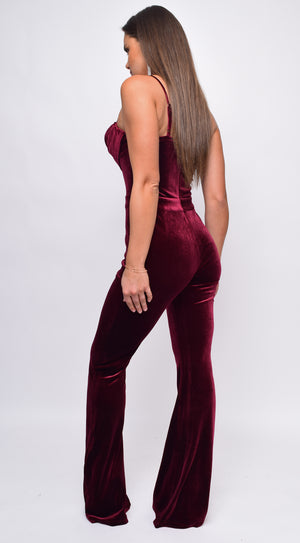 Lakisha Burgundy Red Crystal Detail Velvet Jumpsuit
