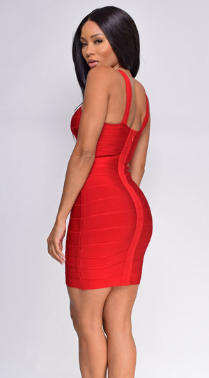 Aylin Red Front Cross Bandage Dress