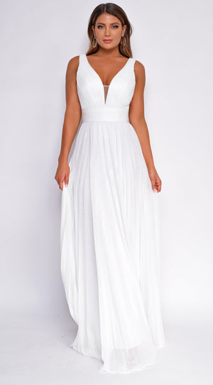Noelle White Pleated Gown