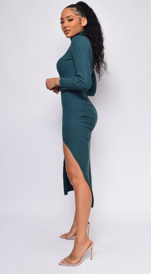 Jouca Green High Neck Side Slit Long Sleeve Ribbed Dress