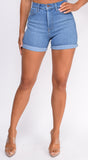 Chase Blue High Rise Cuffed Hem Shorts