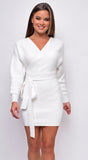 Devon White Ribbed Knitted Sweater Dress