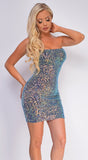 Kiyana Blue Multi Tube Sequin Dress