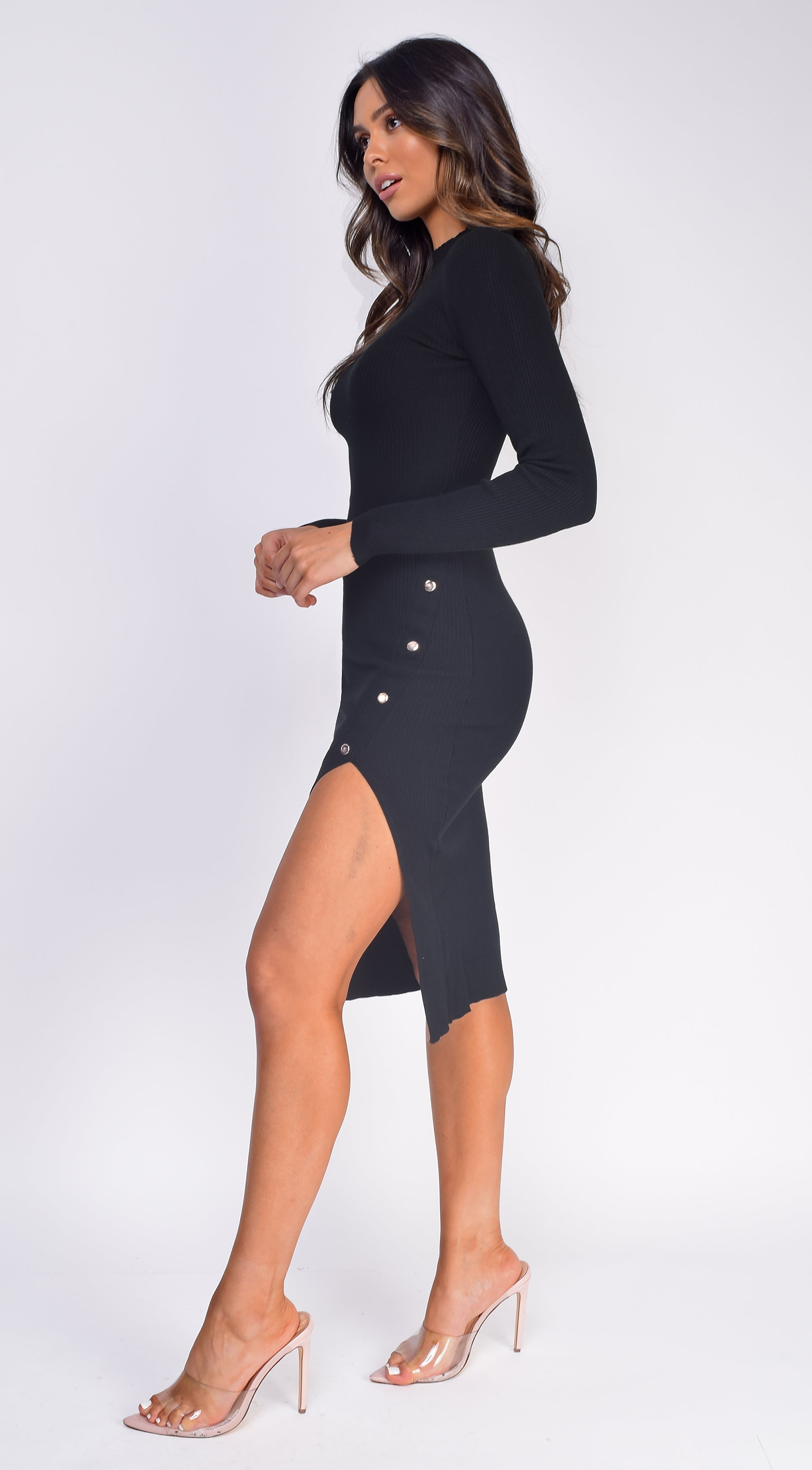 Zola Black High Neck Button Ribbed Side Slit Dress