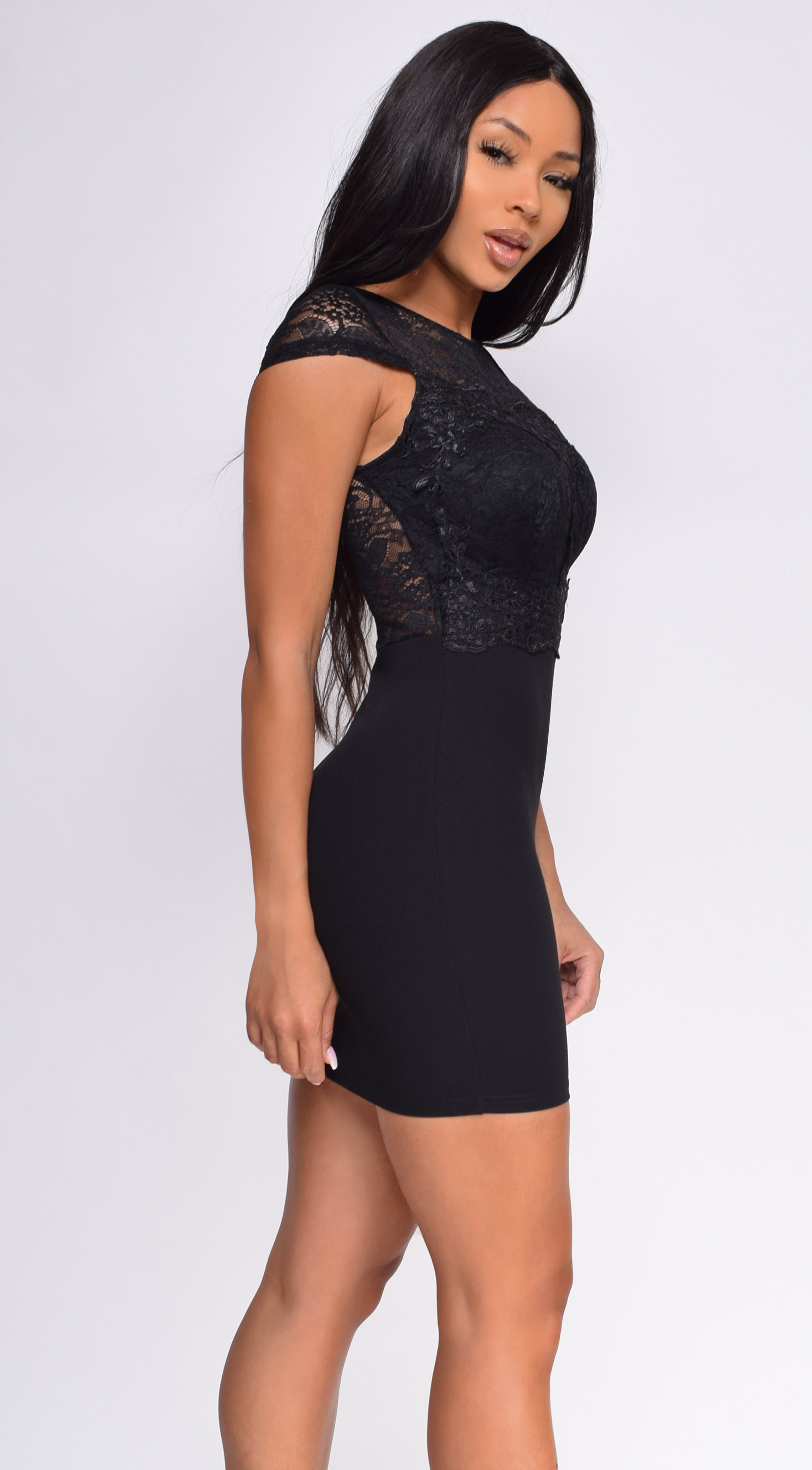 Ava Black Lace Cap Sleeve Dress