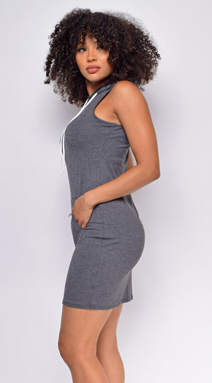 Reva Charcoal Grey Sleeveless Hoodie Dress