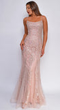 Sirene Mauve Pink Beaded Lace Gown