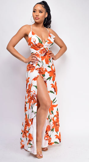 Azari White Orange Floral Print Ruffle Side Slit Maxi Dress