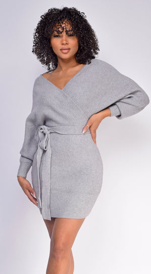 Jetta Grey Wrap Sweater Dress