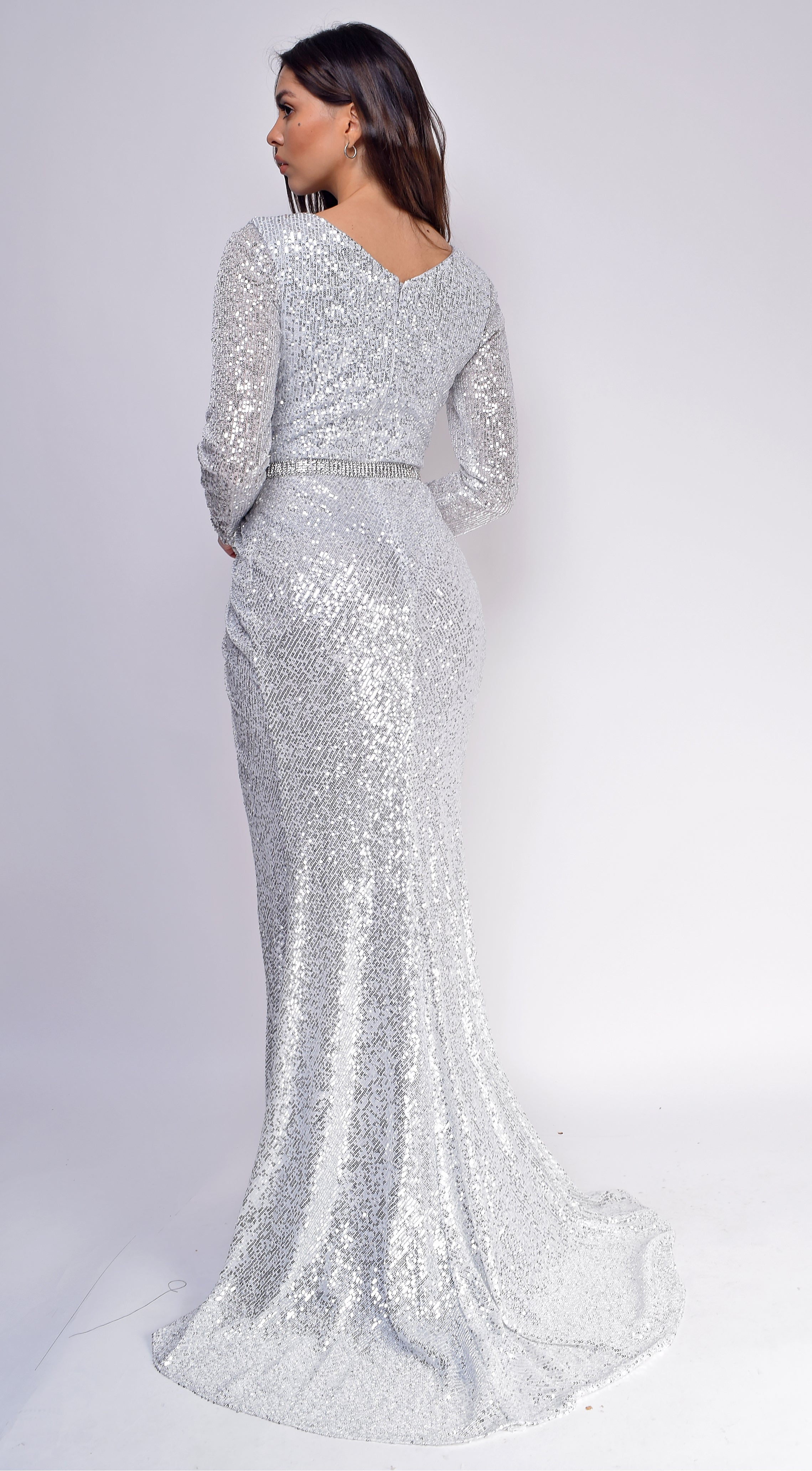 Remy Silver Long Sleeve Sequin Jewel Belted Gown