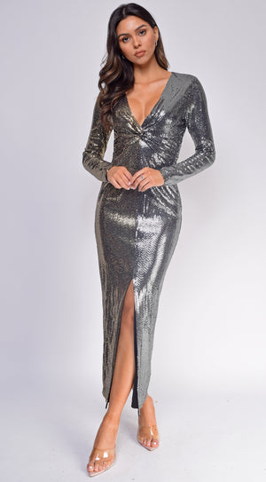 Liv Gold Silver Two-Tone Sequin Maxi Dress