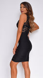 Kenadee Black Studded Mesh Bandage Dress