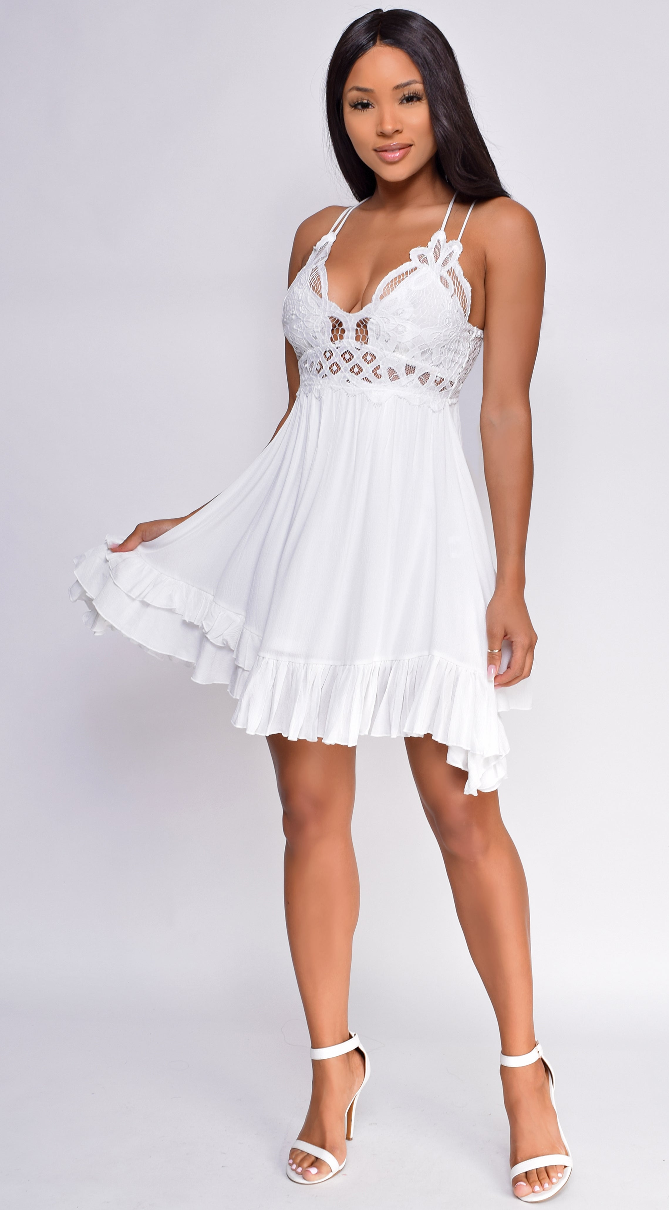 Harlynn White Boho Lace Crochet Dress