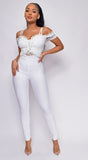 Gloriana White Lace Bandage Jumpsuit