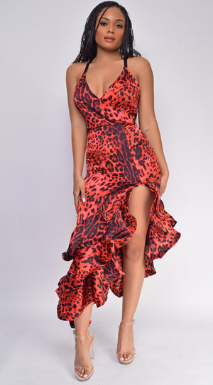 Martina Red Leopard Cascade Hem Maxi Dress