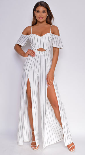 Nubia White Stripe Off Shoulder Double Slit Jumpsuit