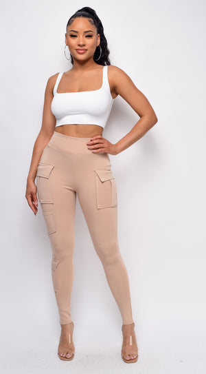 Dia Beige Khaki Cargo Pocket Leggings