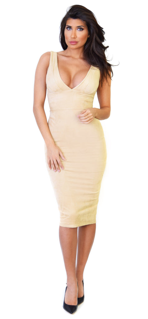 Nude Faux Suede Padded V Neck Midi Dress - Emprada