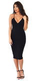 Black Show Stopper Deep V Midi Dress - Emprada