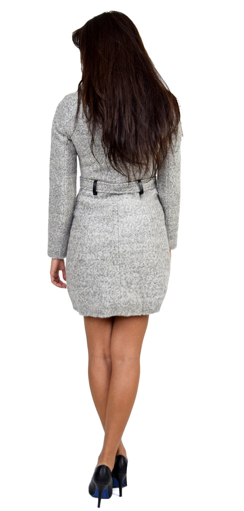 Leila Fitted Grey Wool Winter Coat With Large Collar - Emprada