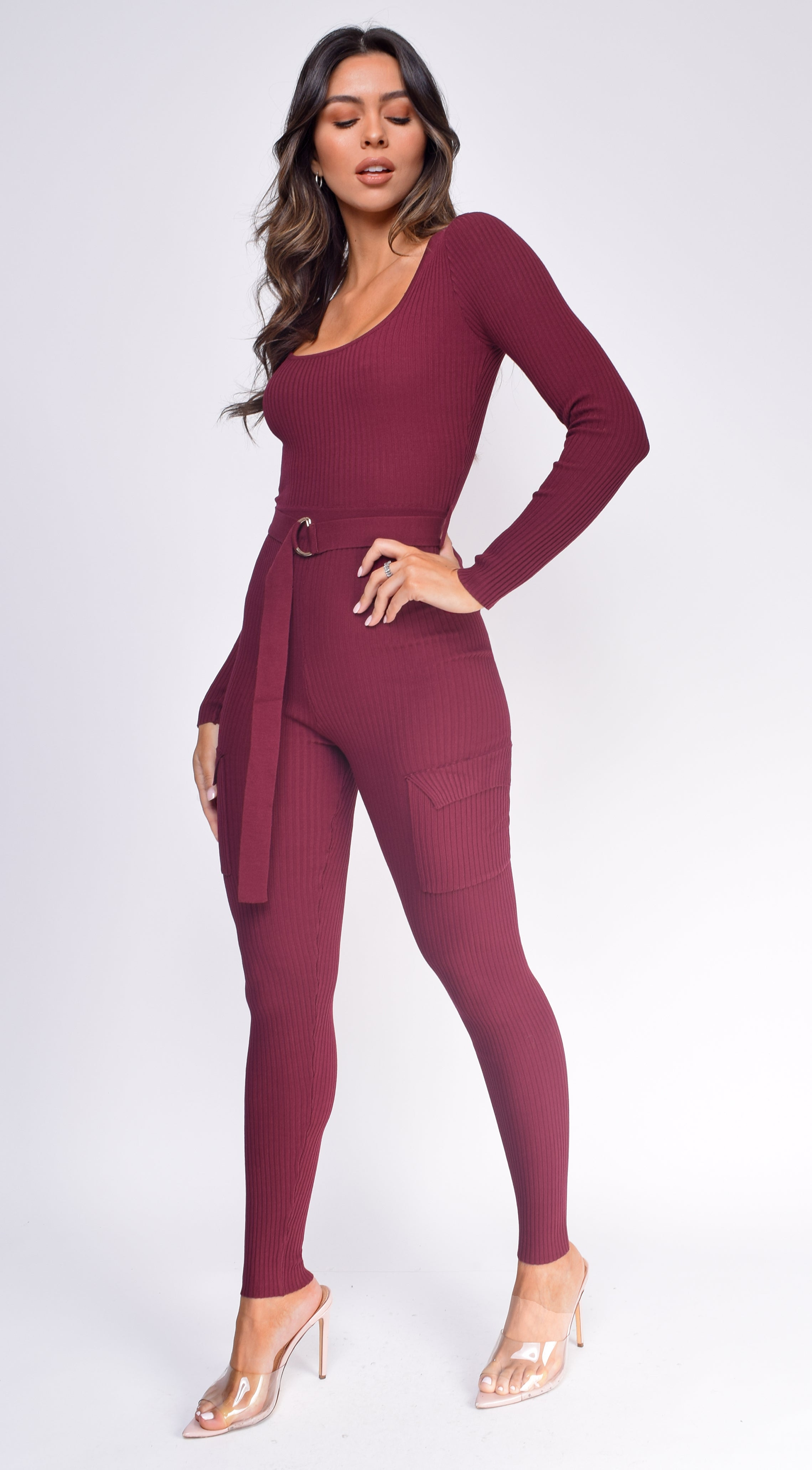 Nichol Burgundy Red Cargo Pocket Ribbed Jumpsuit