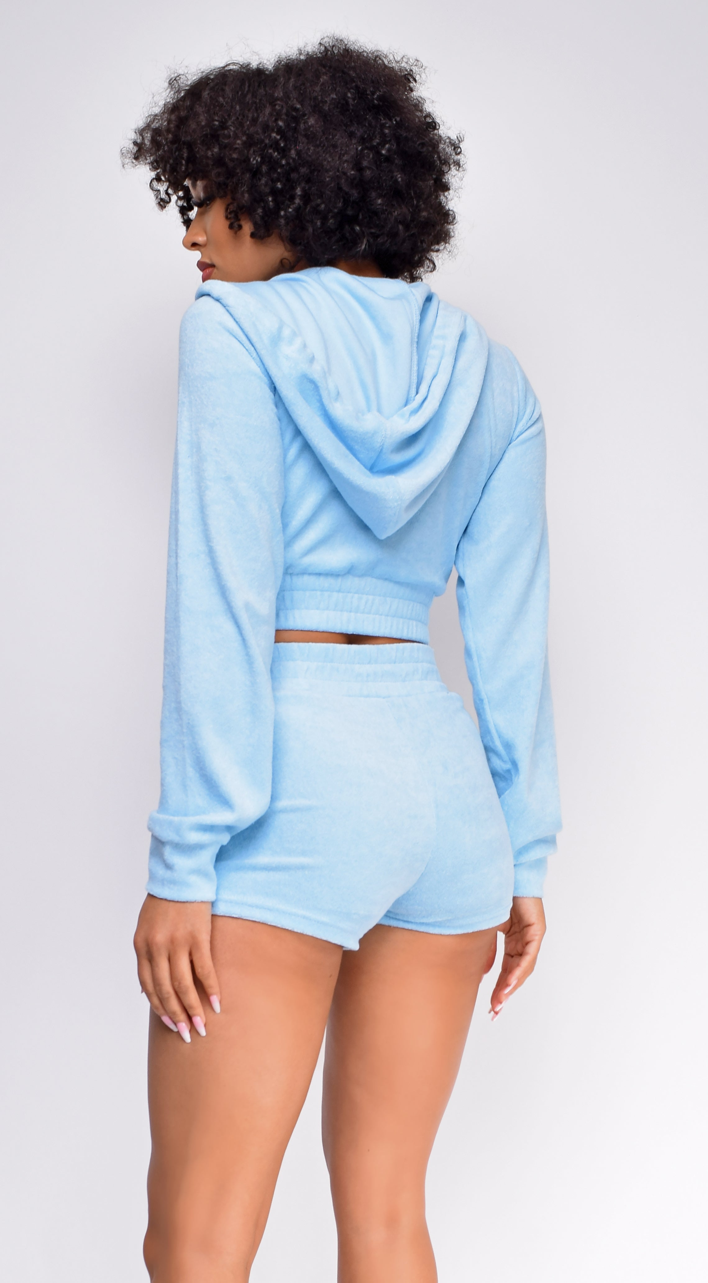 Just The Two Of Us Sky Blue French Terry Crop Hoodie Shorts Set