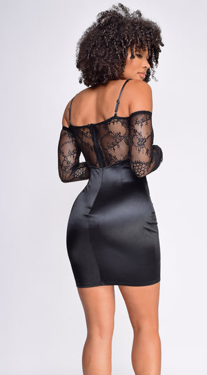 Thalia Black Ruffled Off shoulder Satin Lace Dress