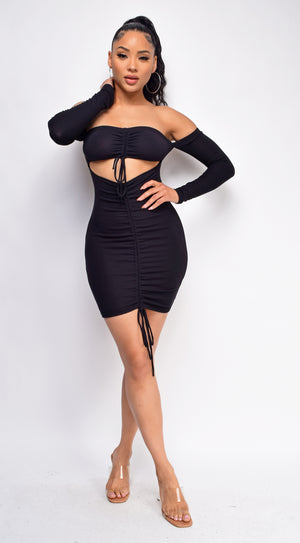 Nicci Black Cut Out Ruched Detail Dress