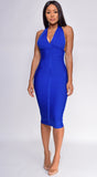 Chantelle Royal Blue Blue Cinch Waist Halter Neck Bandage Dress