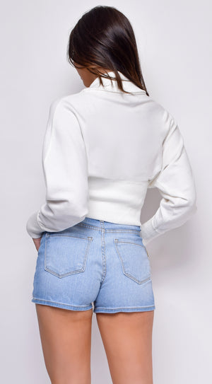 Ophelia White Knitted Long Sleeve Front Wrapped Crop Sweater